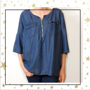 Ellen Tracy Women's XL Blue Denim Zip Shirt (C3)